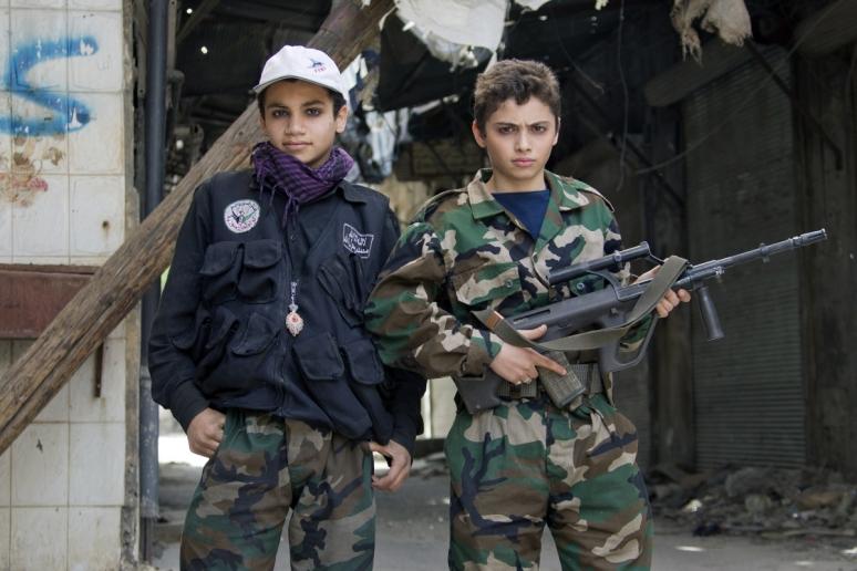 FSA child soldiers in Aleppo (Getty)